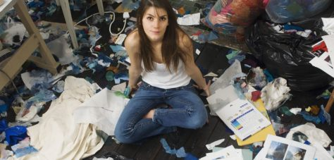 Messy room with girl in it
